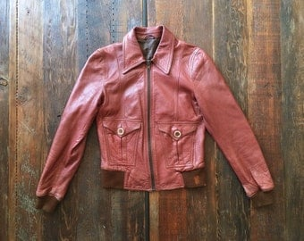 1970s Rust Leather fitted bomber jacket