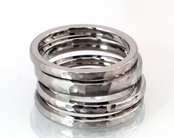 Custom Made Stackable Rings, Titanium Rings, 2mm Bands: 2FHB-2FHB-3FHB-2FHB