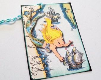 Mermaid Ship Tags - Set Of 3 - Retro Mermaid - 1950's Mermaid - Gift Tags - Mermaid Tags - Thank Yous -  Vintage Map - Kitschy Mermaid