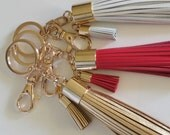 Gold Tassel Keychain, Gifts for Girlfriend, Gold White Red Accessory,Leather twin Tassel Keyring,Christmas Gift Idea Bag Charm Two tassels