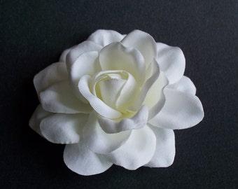 Sophia Wedding Silk Gardenia Hair Flower White to Off White Bridal Accessory