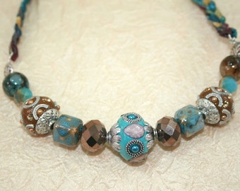 Womens Braided Chunky Choker, Bib Necklace, Large Beaded Necklace, Big Bead Jewelry in Turquoise , Brown and Silver