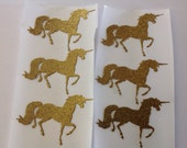 15 pc Prancing Gold Glitter Unicorn Stickers