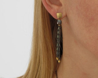 Labradorite Tassel Earrings  Gold Sterling 22K Bimetal