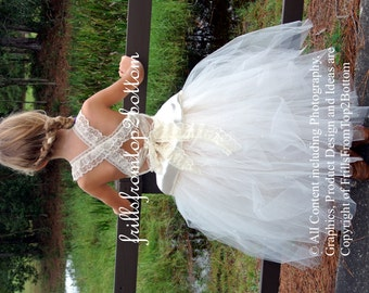 Flower Girl Dress Lace Sleeveless Halter Tulle Skirt