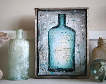 "Message In A Bottle No. 5 - 6.5"" x 8.5"" original framed mixed media painting on canvas"