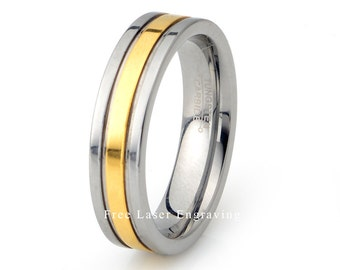 Tungsten Wedding Band, Mens Wedding Ring, Grooved Ring, Yellow Gold Plated Tungsten Ring, Wedding Ring, 6mm Ring, Anniversary ring, Engraved