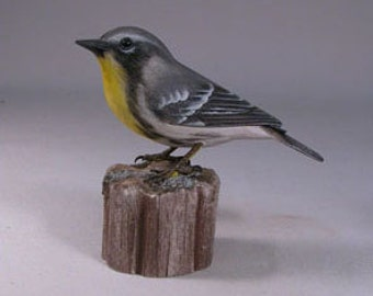 Yellow-throated Warbler Wood Carving Carved Wooden Bird