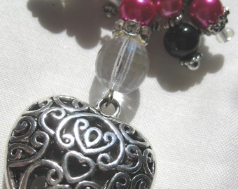 Purse or Planner Dangle Crown charm hot pink black and white painted pearl glass beads Rondelle silver zipper pull charms heart