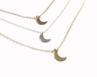 Moon Necklace, Tiny Moon Necklace, Crescent Moon Necklace Gold Filled, Rose Gold Filled or Sterling Silver- Delicate Necklace