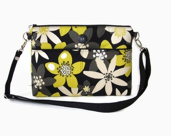 Black and Yellow Medium Zippered Crossbody Bag - Floral Messenger Bag - Zipper Closure - Outside Pockets - Shoulder Purse - Floral Handbag