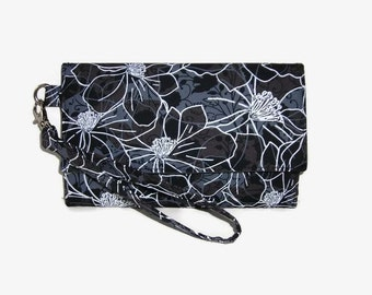 Cell Phone Wristlet Wallet - Black Gray Trifold Wallet - Cushioned Phone Clutch Wallet - Smartphone Wristlet -  Phone Pouch -  iPhone Wallet