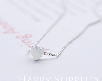 5pcs Silver Plated Heart Charm / Pendant With 1 Hole (Chain Optional) (ZG178-S)