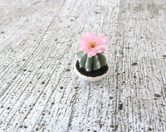 Cactus with pink flower in bowl in 1 inch scale