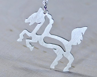 Sterling Silver Horse Necklace Handsawed and Custom Design in Solid 925 - NC311
