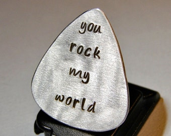 Guitar Pick Handmade Aluminum with You Rock my World - GP733