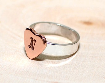 Sterling silver ring with personalized copper heart - RG609
