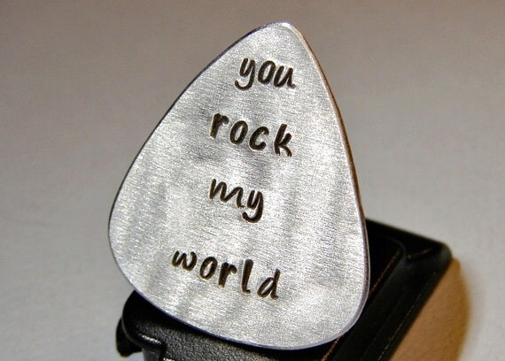 Guitar Pick Handmade Aluminum with You Rock my World - GP733