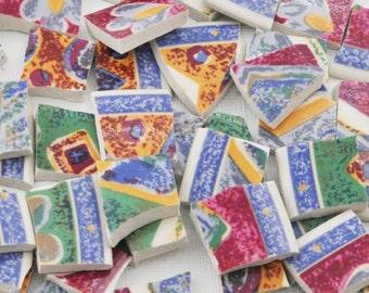 Broken China Mosaic Tiles - Geometric - Floral - Colorful - Set of 75