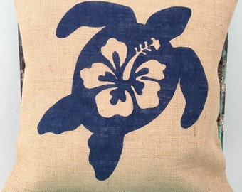 READY TO SHIP Sea turtle hibiscus burlap pillow cover (hessian cushion cover)