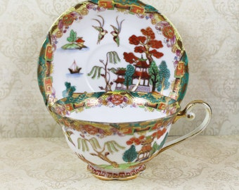 Vintage Hand Painted Made in Occupied Japan Tea Cup and Saucer
