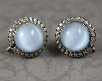 Vintage Danecraft Sterling Silver Pale Blue Faux Moonstone Filigree Screw Back Earrings
