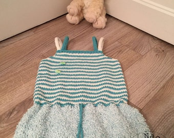 Dress full summer of turquoise and white, 12/18 months