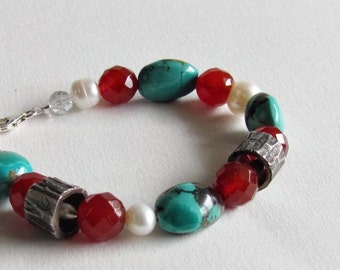 Turquoise and Carnelian Bracelet - Metal Clay Beads - Turquoise Jewelry - Boho Chic Jewelry - Boho Style Bracelet