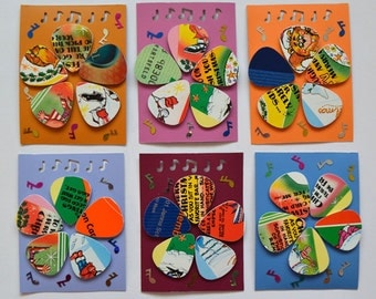 """Crazy, Cool, Funky, 5 """"Up-cycled"""" guitar picks."""
