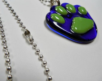 Paw Pendant blue and green glass