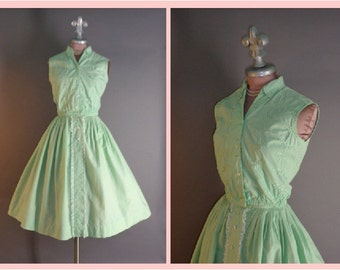 50s dress vintage 1950s MINT GREEN LACE embroidery cotton top shirt and full skirt 2pc dress set