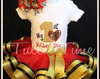 My First  Mother's Day Embroidered Gold Leopard  onesie tutu dress combo bow headband size Newborn, 0-3m, 3-6m, 6-12, 12 months 18 months