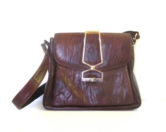Vintage Crinkled Leather and Metal Accent Purse // C. 1960s