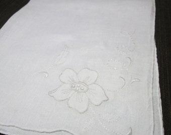 Beautiful White vintage floral  Handkerchief