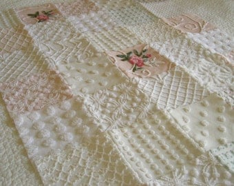 """Soft Whispers - Vintage Chenille Baby Quilt - Crib Size 53"""" x 32"""""""