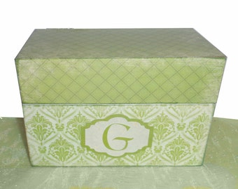Wooden Recipe Box Personalized with Initial Simply Nature Celery Green and Cream