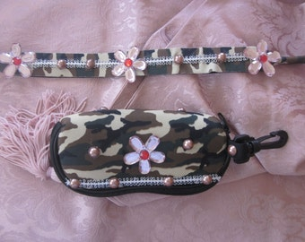 GI JOE  Diva Eyeglass Case and Necklace Blinged For Your GI Josie Girl Recycled Reclaimed Regenerated