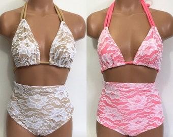 White lace coral retro swimsuit