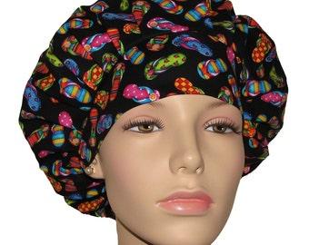 Bright Multicolor Flip Flops-ScrubHeads-Scrub Hats-Scrub Caps-Scrub Hats For Women-Beach Scrub Hat-Flip Flops Scrub Hat-Surgical Scrub Hat