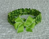 """St. Patty's Day Dog Scrunchie Collar with lime green bow  - M: 14"""" to 16"""" neck"""