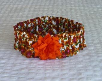 "Dog collar, Dog scrunchie, Pet neckware, Multi-color Daisies Dog Scrunchie Collar - orange rayon flower - Size XXL: 20"" to 22"" neck"
