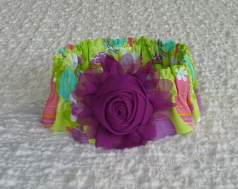 """Easter Eggs on Lime Green Dog Scrunchie Collar - chiffon rolled rose - M: 14"""" to 16"""" neck"""