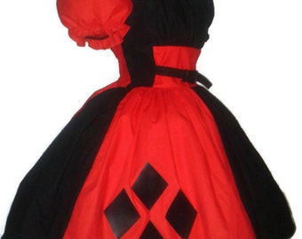 Harley Quinn Harlequin Halloween Costume Dress Red and Black Cosplay Costume Handmade Custom Size including Plus Sizes Womens Adult Costume