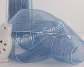 "Sheer Serenity Blue Ribbon, 1.5"" Ribbon by the yard, Weddings, Gift Wrapping, Floral Ribbon, Party Supplies, Wreaths, Bouquets"