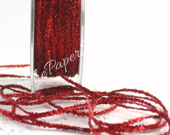 """Red Glitter Twine/String, 2 yards, 1/8"""" wide, Gift Wrapping, Christmas Ribbon, Red Glitter Trim, Weddings, Invitations, Party  Supplies"""