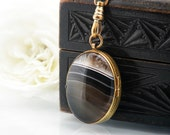 Antique Locket  | Banded Agate Victorian Locket | Reversible Oval Locket Necklace | Black & White Stone Locket - 34 Inch Long Chain Included
