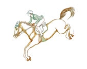 Horse ridinging watercolor drawing