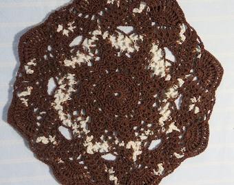 Brown Doily-8.5 inch Doily-Variegated Dark Mocha and Cream Doily-Hand Crocheted Egyptian Cotton Doily-Cindy's Loft