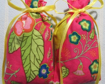 "Pink 3""X2"" Sachet-'Carnation' Fragrance-Navy Blue,Green and Yellow Floral Sachet-Yellow Ribbon-Cotton Fabric Sachet-Cindy's Loft-242"