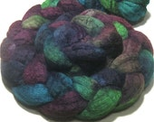 BFL wool fiber hand dyed combed top - hand painted spinning and felting fiber - 4.3 oz Siren Song - wool roving braid to spin and felt